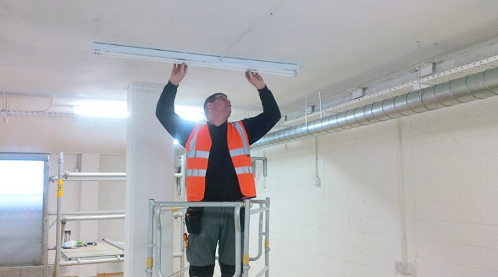 Steve Rudkin Electrical put the final touches in place at Rutland Cycling's new Cambridge bike hire room.