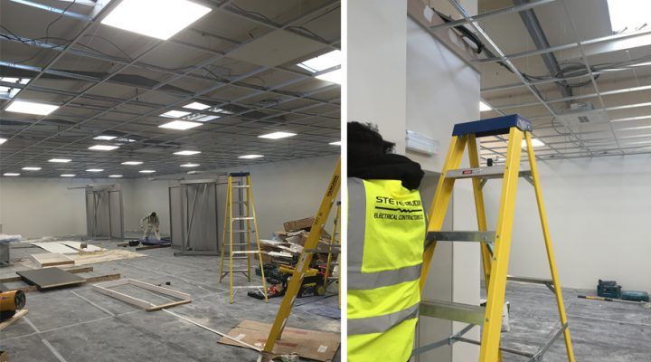 Wiring and lighting for new tile centre in Dudley