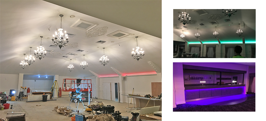 New dimmable led lamps fitted to the chandeliers slashing energy costs