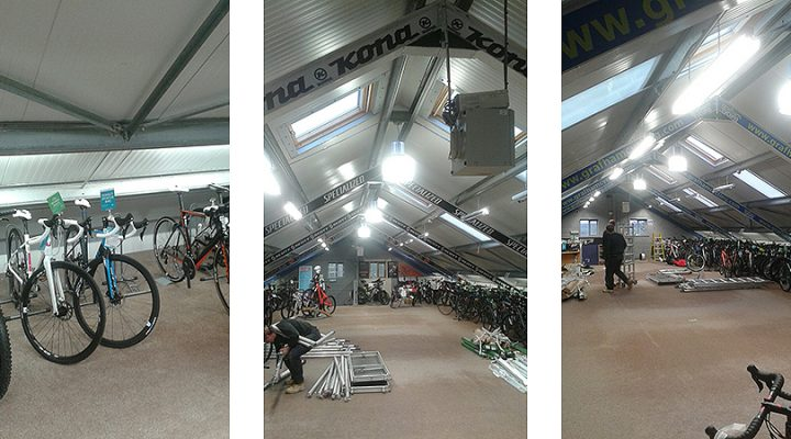 A retro feel lighting refurbishment at Rutland Cycling's Grafham store.