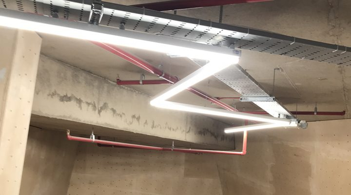 Lighting and power in a new climbing centre Leicester