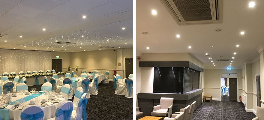 LED and fibre optic lighting work completed to local hotel suite and adjacent bar.
