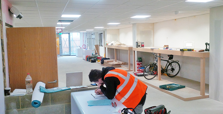 Led lighting, heating power and extraction systems were installed.