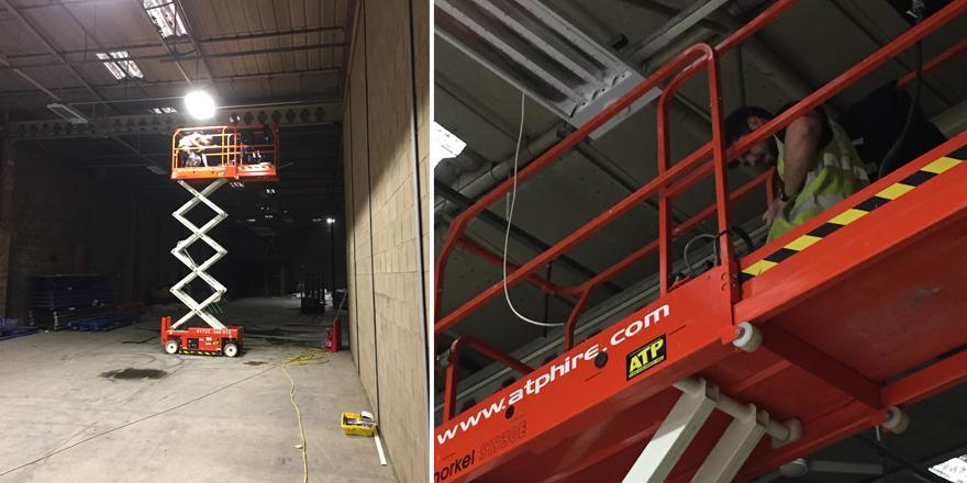 New LED sensored lighting in builders merchants warehouse Northampton.