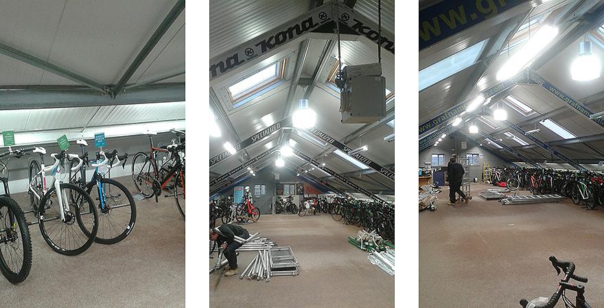 A retro feel lighting refurbishment at Rutland Cycling's Grafham store.