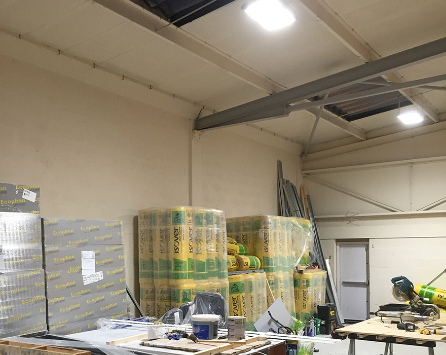 Our latest warehouse l.e.d lighting project.