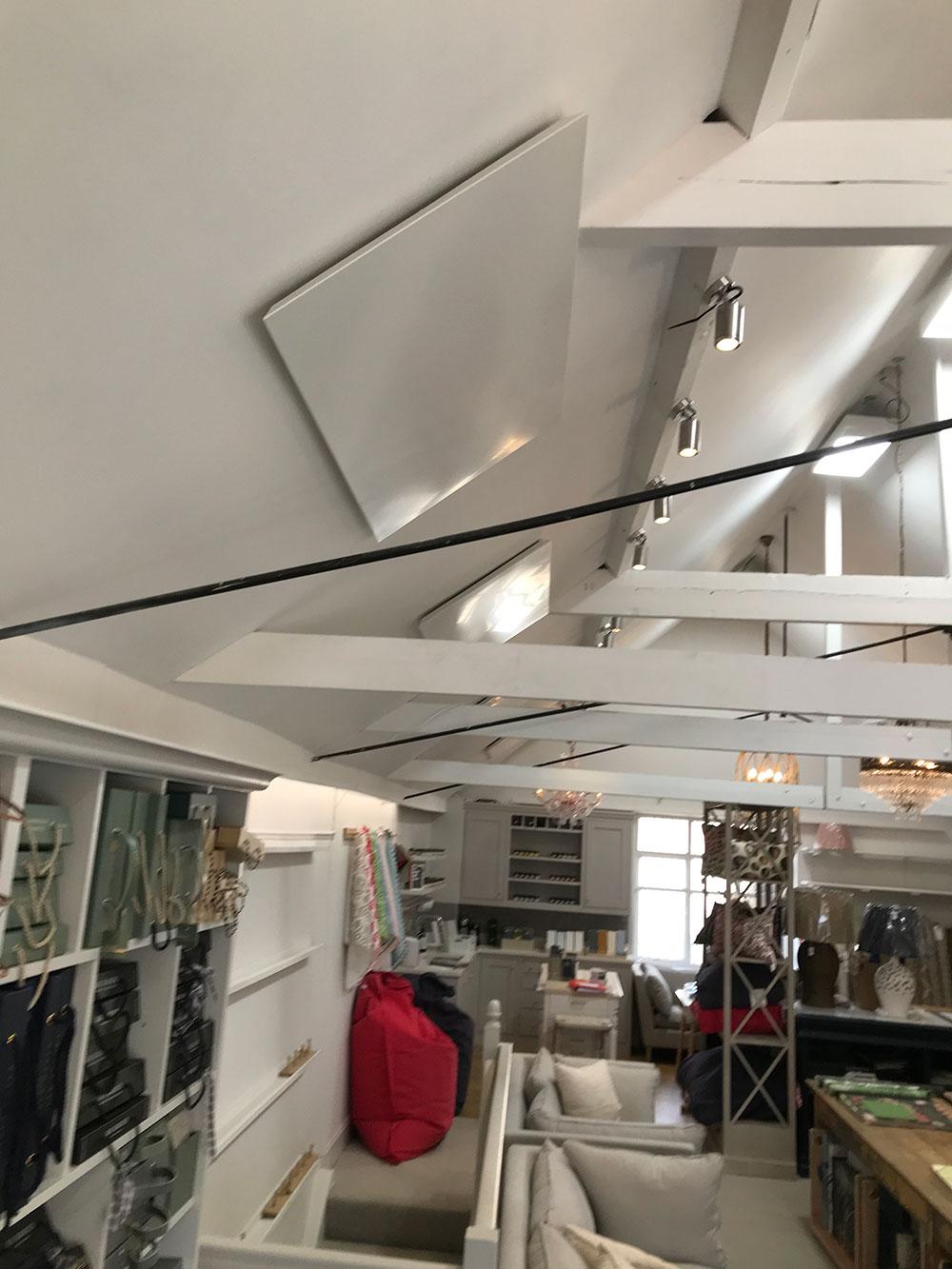 infra red heating panel in shop - Steve Rudkin Electrical Contractors Ltd