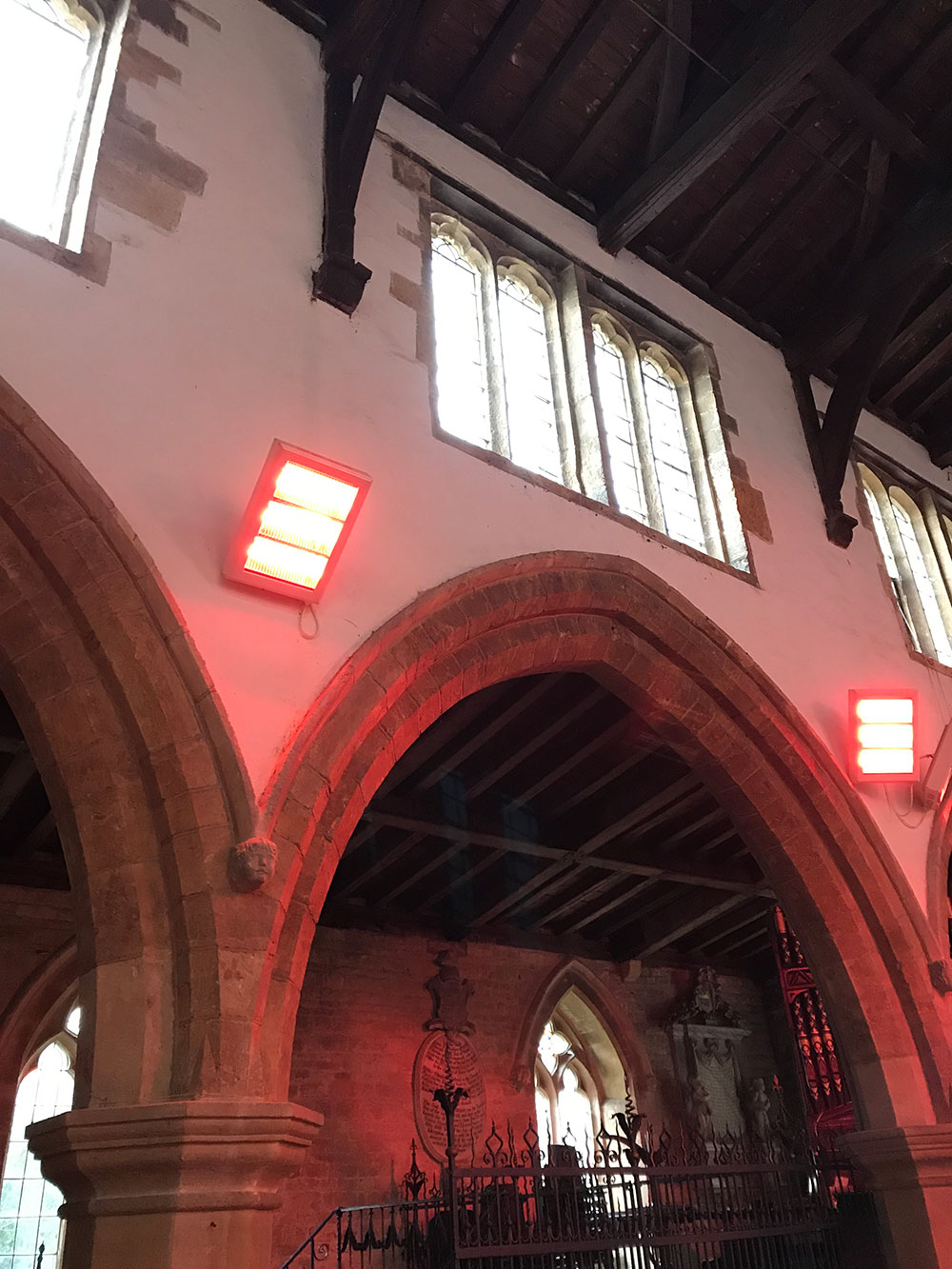 Infra red heating installation in Rutland church - Steve Rudkin Electrical Contractors Ltd